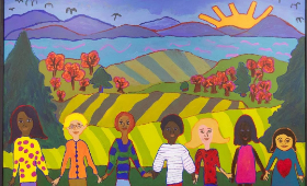 colorful-mural-kids-in-line-holding-hands-rolling-hills-in-background