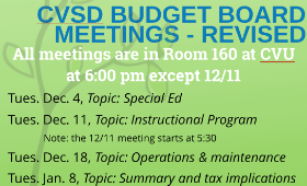 CVSD Budget Board Meetings